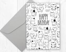 black and white birthday cards printable cat birthday card etsy