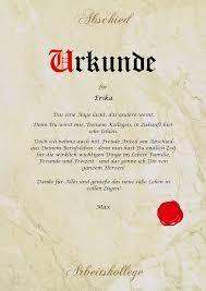 Urkunde Personalisiert Geschenk Karte Abschied Arbeitskollege