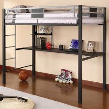 black metal boys bunk bed with desk underneath plus silver stairs and rails added by white