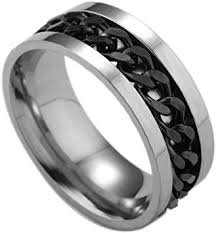 WensLTD Men's Titanium Steel Chain Rotation Ring ... - Amazon.com