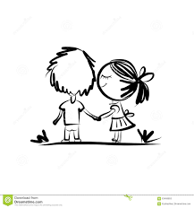 Couple In Love Together Valentine Sketch For Your Stock Vector