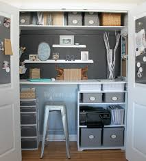 minimalist cabinet and computer desk in home closet office ideas with plastic chair and elephant head decor