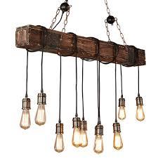Pendelleuchte Holz Höhenverstellbar Kronleuchter Schwarz Hängelampe Vintage Hängeleuchte Industrial Retro Metall Für E27 Leuchtmittel Pendellampe