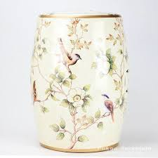 patio stool: almond bird branch mark ceramic patio stool