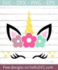These free unicorn svg cut files and graphics will be an amazing addition to your cutting files and craft collections and are perfect for gifts, decor this is a popular design for a unicorn face svg graphic but it has a gold, glitter horn. Unicorn Face With Flowers Svg Free Svg Files Hellosvg Com