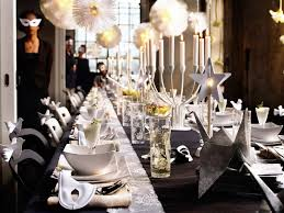 Decorations:Perfect Party Decoration Table With White Folded Fabrique And  Hanging Pendant Lamps With Long