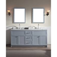 ariel hamlet 73 double sink vanity set with white quartz countertop in grey f073d