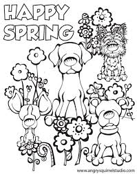 Happy Spring Coloring Page To Print For Kids Adult Coloring Pages