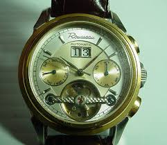 watches collection on mens rousseau automatic chronograph sceleton gold tone wristwatch watch brand