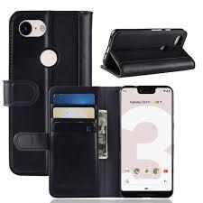 google pixel 3 lite xl phone case wallet flip cover folio genuine leather case stand display