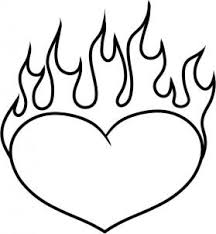 Drawing Pages Heart On Fire Drawing Free Download Best Heart On Fire Drawing On