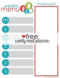 meal planner free free meal planner printable written reality