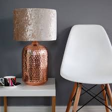 copper table lamp with choice of velvet lampshade
