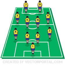 soccer field templates soccer football tactics board with players on field vector