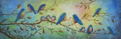 blue birds on branches w005