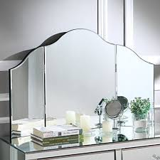 mokella tri fold tabletop vanity mirror frameless modern and contemporary inspired home