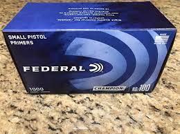 1000 count FEDERAL small pistol primers no.100 - Reloading Supplies at GunBroker.com : 898100195