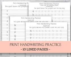 Handwritting Practice Print Handwriting Practice On Lined Paper Letter Size And A4