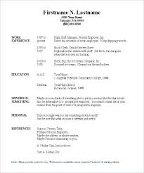 Free Blank Resume Template Word Forms To Fill Out In The Templates