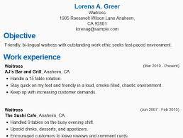 Server Resume Samples Custom Waitress Job Description Resume Restaurant Server Resume Samples