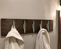 Distressed White Coat Rack Beach House Bathroom boat cleats coat rack Wood distressed 64