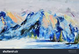 mountain landscape snow capped peaks snow trees contemporary art modern abstract