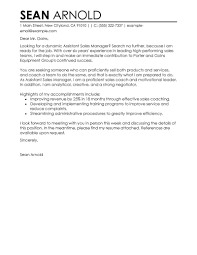 Leading Professional Assistant Manager Sample Cover Letter Examples