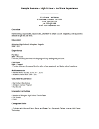 Example Of A Resume With No Work Experience Excellent Idea Resume