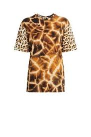 Giraffe Chine And Leopard Printed T Shirt
