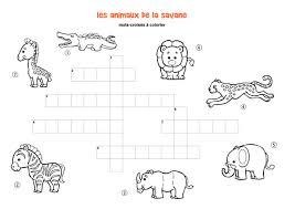 Tellement mieux pour la classe quand ils sont personnalisés ! Les Animaux De La Savane Mots Croises Enfant A Imprimer Et Colorier