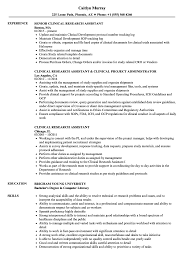 sample resume for research assistant clinical research assistant resume samples velvet jobs