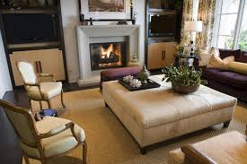 ottoman coffee table. Tightly Matched Living Room Features Beige, Brown, And Purple Accents Throughout, With Smaller Ottoman Coffee Table A