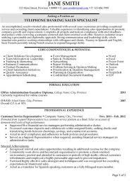 Banking Resume Stunning 8722 Click Here To Download This Telephone Banking Sales Specialist