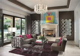 Eclectic Living Room with Chandelier, Carpet, Crystal Blocks Floor Lamp,  Cement fireplace,