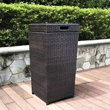 palm harbor wicker patio trash can in brown outdoor bin decorative trash cans lovely patio