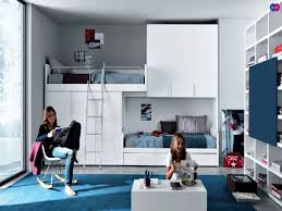 cool bedroom ideas for teenage girls bunk beds. Interesting Ideas White Wooden Teenage Girls Bunk Beds With Divider And Stairs Also High  Bookshelves Small Table On Blue Rug Cool Girl Bedroom Ideas  Throughout For D