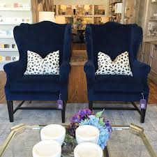 Wing Chairs For Living Room Navy Blue Wingback Chair With Black Painted Legs Design