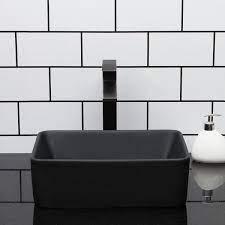 Lordear 16 In X 12 In Vessel Sink Rectangle Modern Above In Matte Black Ceramic Bathroom Vessel Vanity Sink Bowl Art Basin Kf1612 B The Home Depot