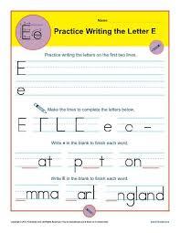 Practice Writing Letters Letter E Worksheets Handwriting Worksheet