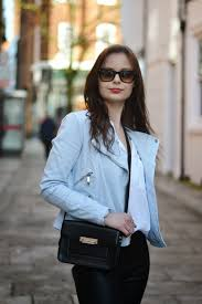 blue pastel leather jacket