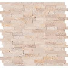 vogue l stick ivory travertine honed and split face mix brick pattern mosaics for kitchen backsplash wall tile 5 com
