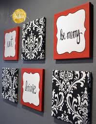 red and black damask eat drink be merry chef wall decor set with regard