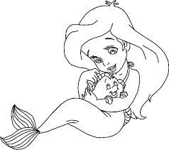 Disney Princesses Coloring Pages Ariel Chibi Coloringstar