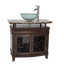 glass vessel sinks for bathrooms. Adelina 36 Inch Vessel Sink Bathroom Vanity Mahogany Finish Glass Sinks For Bathrooms