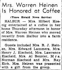 Alice Heinen honored at Mrs. Hilbert Koenig's house - Newspapers.com