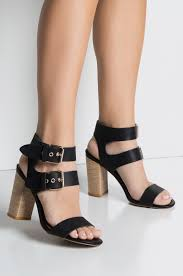 front view stack that heal double strap heeled sandal in black