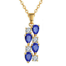 premium quality yellow gold plated blue swiss cz diamonds pendant mona lisa style