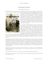 "cfp essay collection on ""the philosophy of war films  cfp essay collection on ""the philosophy of war films"" >> ordinary language philosophy literary studies 2009 2017 <<"