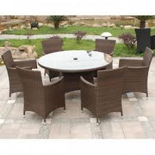 royalcraft cannes mocha brown rattan 6 seater round dining set