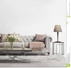 Living Room Grey Contemporary Elegant Chic Living Room With Grey Tufted Sofa Stock
